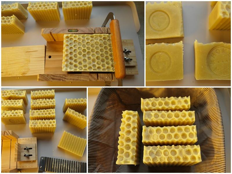 krojenie mydła na wosku pszczelim krajalnicą